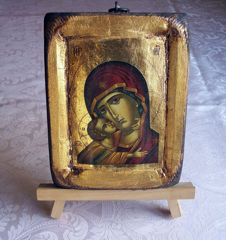 Orthodox greek religious icon with mount Athos style, vintage and byzantine style with Jesus Christ and Virgin Mary by GardenOfLinda on Etsy