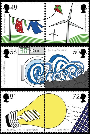 Here's a set of stamps designed to promote energy efficiency and alternative energies