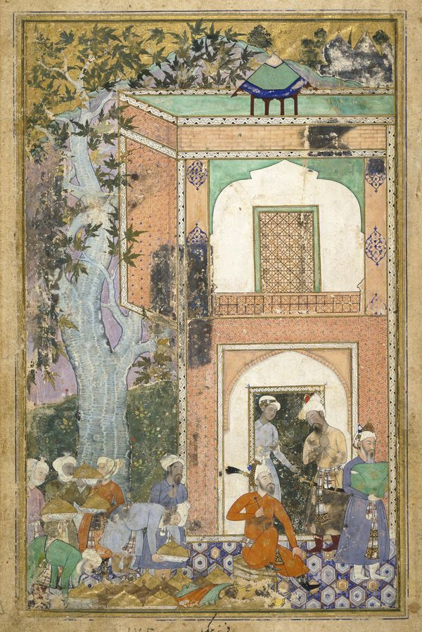 Babur Entertains in Sultan Ibrahim Lodi's Palace from a Baburnama ca. 1585  Farrukh Beg active early 1580s–1619)  Mughal dynasty   Opaque watercolor, ink and gold on paper H: 40.9 W: 27.0 cm  Lahore, Pakistan