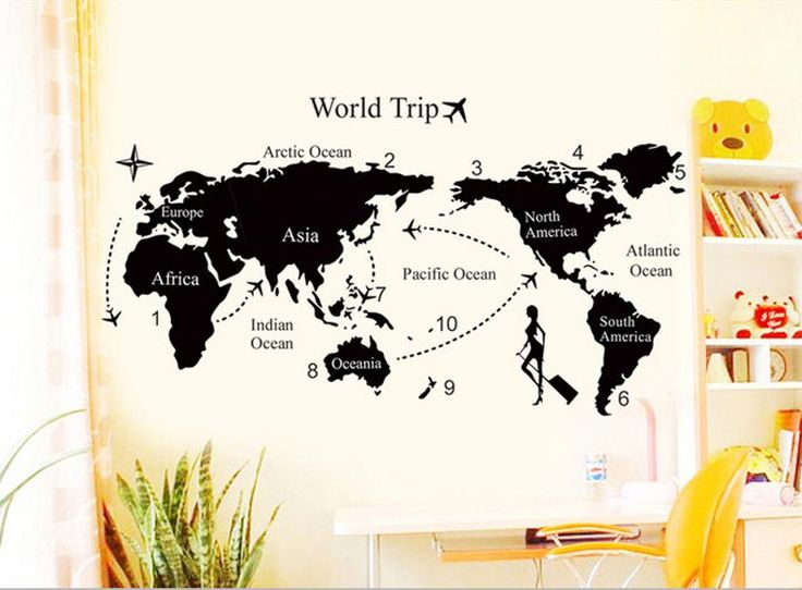 Free shipping Travel World Map removable decals Art Home Decoration TV backdrop Wallpaper Wall Stickers bedroom decor DM57168