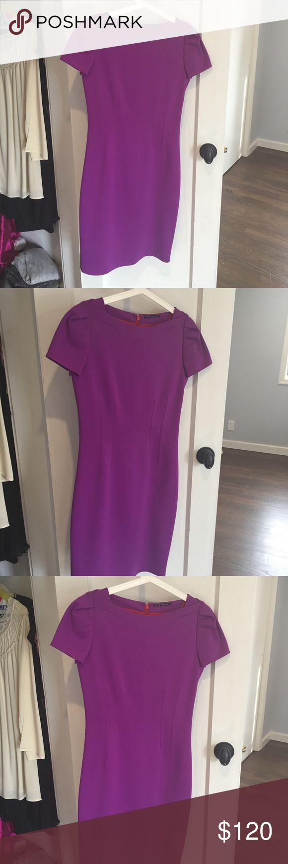 Elie Tahari purple short sleeve midi dress Very elegant purple mini dress for sale!! I love this dress but I'm not skinny enough for it!! Used to fit me before giving birth :( Very flattering fit. Falls below the knee. Perfect for a wedding, engagement party, bridal shower, baby shower, or any other party that you want to dress up for! Fun color dress will make you stand out in the crowd while still looking modest and elegant. Worn only once or twice. Elie Tahari Dresses Midi