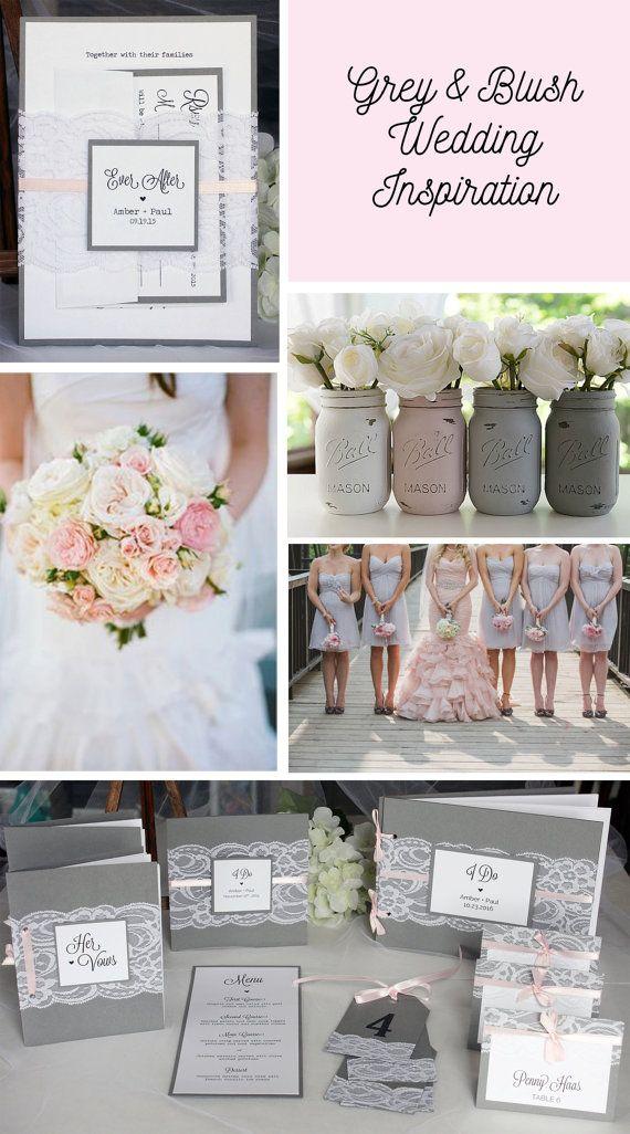 Grijze en roze huwelijksuitnodigingen Lace door alwaysbyamber