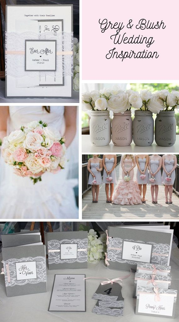 Grey and blush lace wedding invitations, escort cards, table numbers, vows book and guest book by always, by amber!