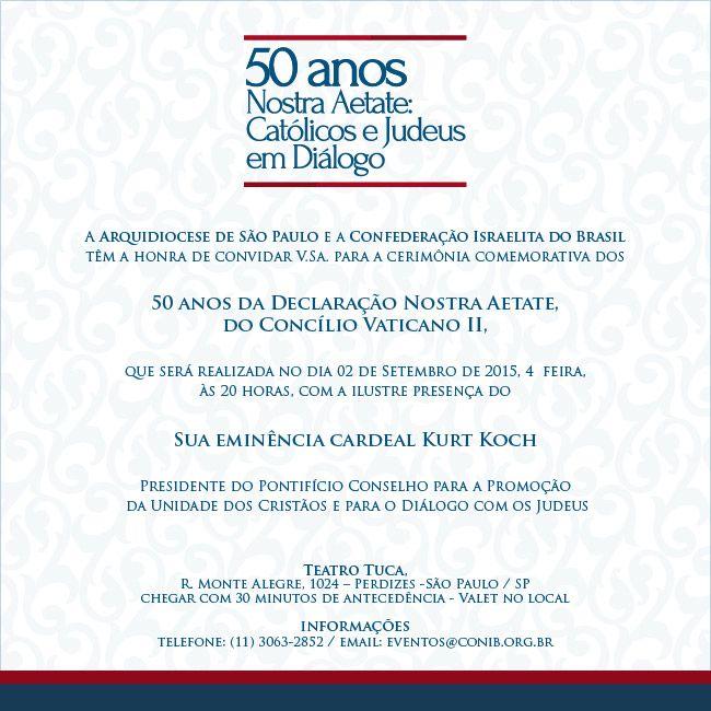 Arquidiocese de São Paulo comemora os 50 anos do diálogo católico-judaico. A Arquidiocese de São Paulo realizará no dia 2 de setembro em São Paulo uma cerimônia em comemoração aos 50 anos da declaração Nostra Aetate e do renascimento do diálogo católico-judaico. O evento, que acontecerá no Teatro Tuca às 20h, terá a presença do…