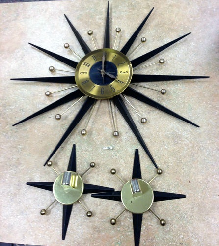 Vintage Starburst Welby Mid Century Modern Wall Clock Sunburst Eames w Sconces | eBay