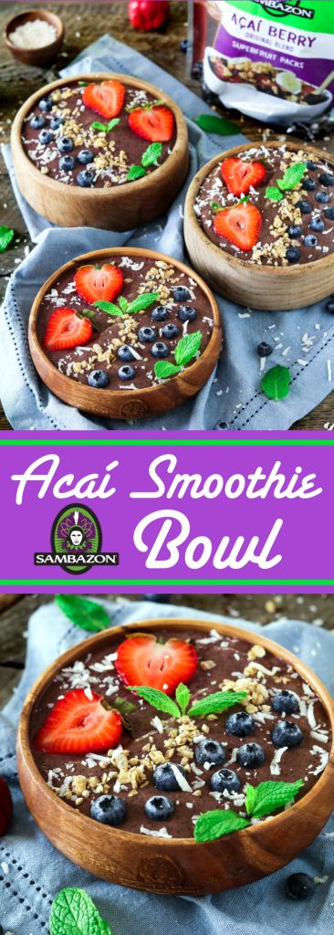 Start your day off right with this nutrient-packed Acai Smoothie Bowl. It's light and refreshing, yet completely satisfying. @sambazon Vegan Gluten-Free Acai Smoothie Bowl - http://veganhuggs.com/pineapple-acai-smoothie-bowl/