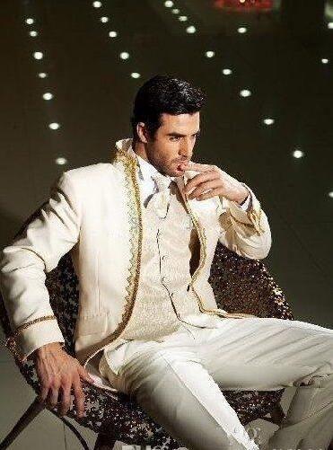Neue Stil Weiß Bräutigam Smoking Stehkragen Groomsmen Best Man Mens Hochzeit Anzüge Bräutigam ((Jacke + Pants + weste)