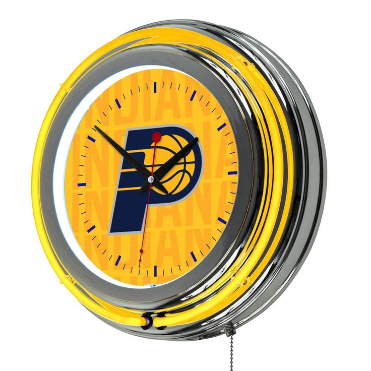 NBA Indiana Pacers City Chrome Double Rung Neon Clock