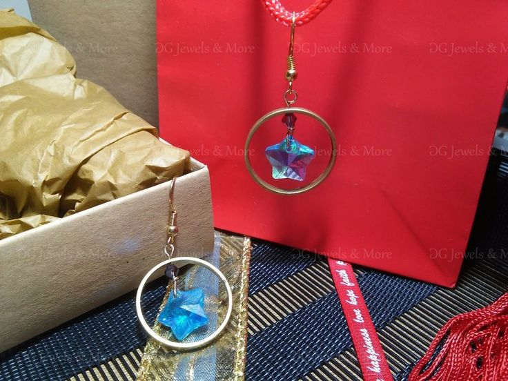 Christmas lucky 2018 earrings brass blue star purple swarovski tinas creations #TinasCreations #DropDangle