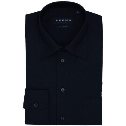 Ledub overhemd zwart wijde fit www.schulteherenmode.nl