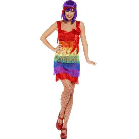 Regenboog flapper jurkje. Kleurrijk jurkje in jaren 20 flapper stijl.