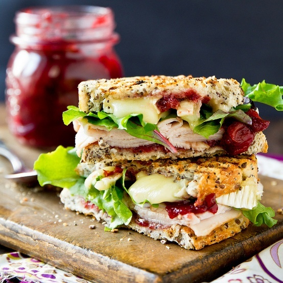 turkey & brie paninis with cranberry chutney