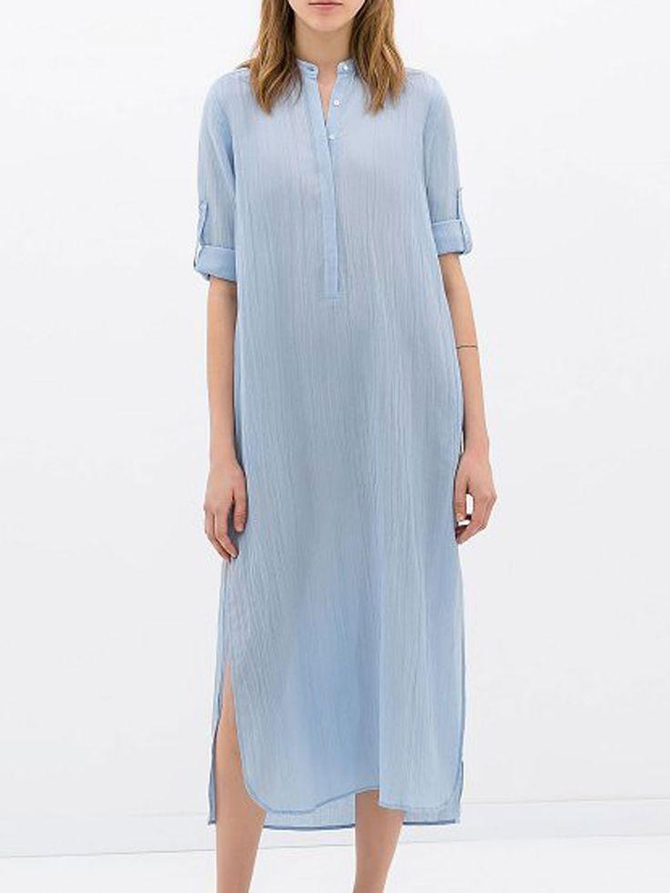 Light Blue Sides Split Shirt Dress | Choies
