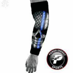 Police Lives Matter Compression Arm Sleeve - Thin Blue Line Skull