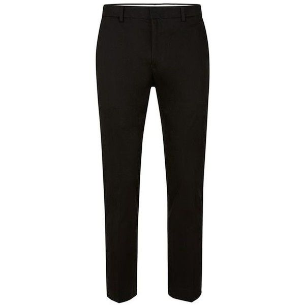 Black Twill Ultra Skinny Fit Cropped Dress Pants (£56) ❤ liked on Polyvore featuring pants, capris, skinny suit pants, cropped capri pants, twill dress pants, super skinny dress pants and suit pants