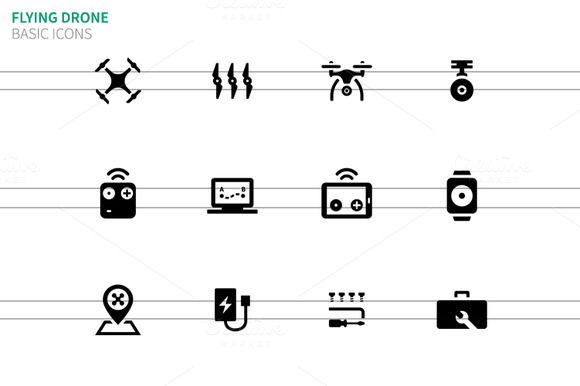 Flying drone icons on white by Brothers Good on Creative Market