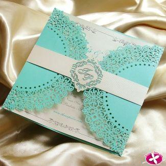 Convite de Casamento - Modelo Elegance. Detalhes em corte a laser. www.rosapittanga.com.br #convite #azultiffany