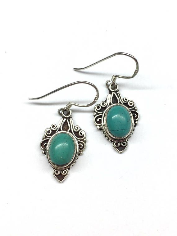 Turquoise Earrings Turquoise Sterling Silver Filigree