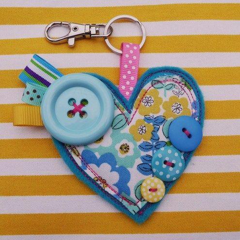Heart Bag Charm/Keyring - Folksy