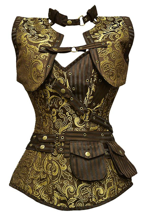GE-265 - Long Brown and Gold Brocade Pattern Steampunk Corset with Matching Jacket.
