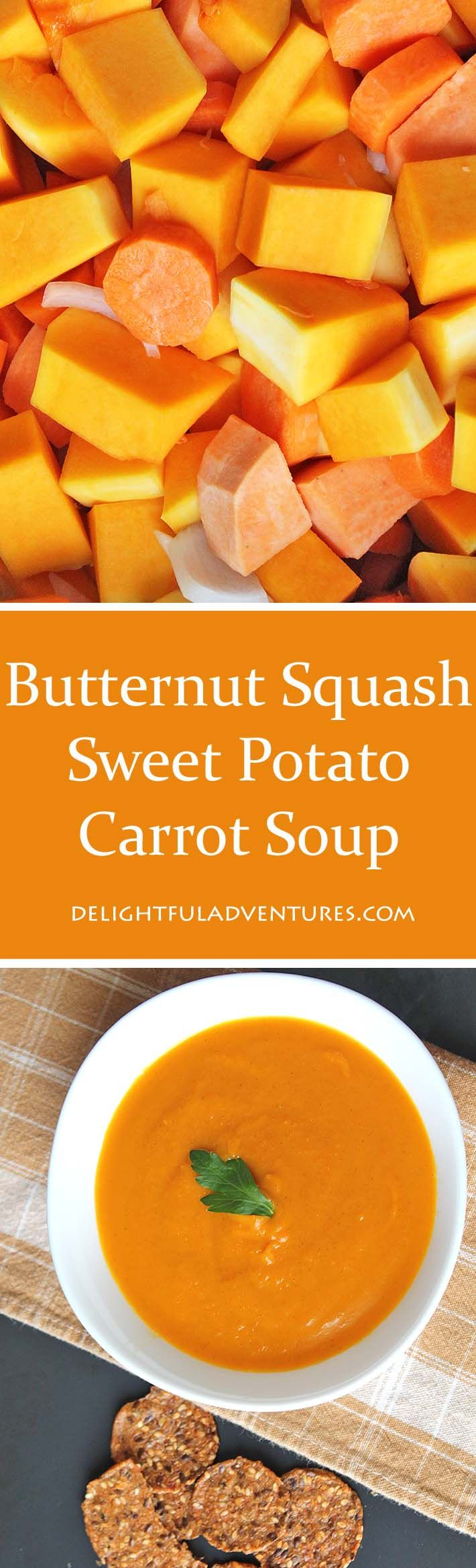 A simple, easy recipe for slow cooker vegan butternut squash sweet potato carrot…