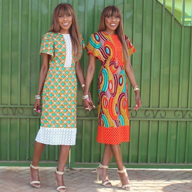 "#Latepost Styled in the ""Katima"" dresses,Available online now at dpipertwins.com #Africanprint"