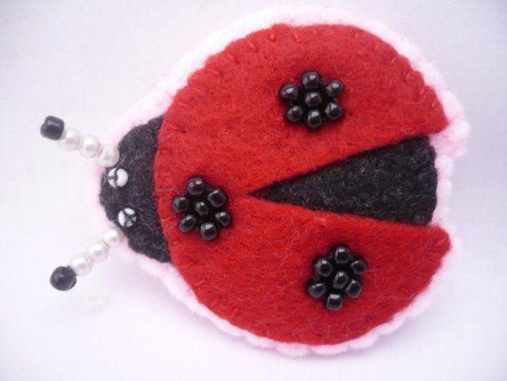 Ladybug felt brooch