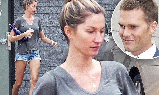 Tom Brady gets a visit from wife Gisele Bundchen at Patriots stadium