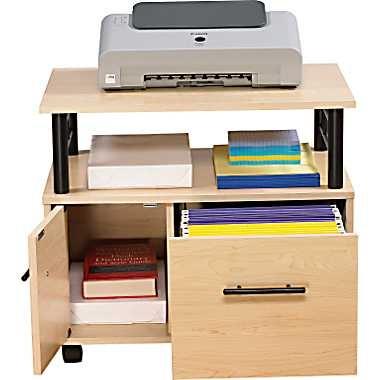 Z Line® Gemini Printer Stand/File Cart, Maple/Black