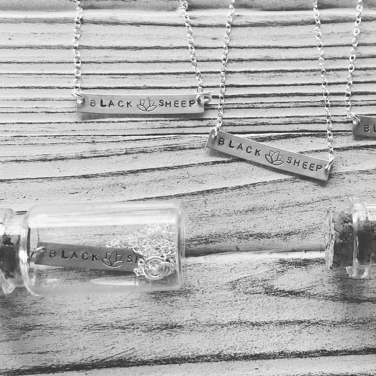 Black sheep lotus sterling silver bar necklaces. Yoga teacher gifts hand made by Indo Love jewelry. Personalized jewelry for the soul