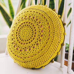 crochet pom pom edged pillow Stitch DIY project for rainy day