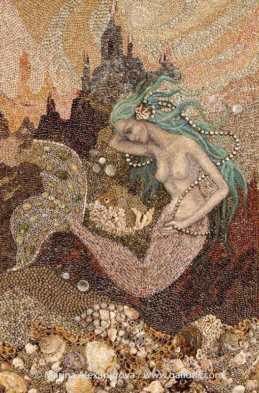 """""""Mermaid"""", wall seashell mosaic and painting"""