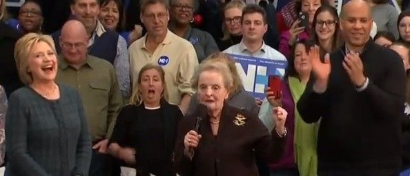 Hillary Clinton, Madeleine Albright and Cory Booker at event in Concord, N.H. SEE YOU IN HELL MADELEINE!