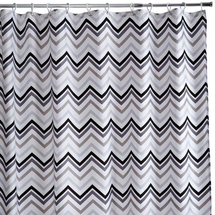 £13 B&Q Cooke & Lewis Grey & White Teter Chevron Shower Curtain (L)1.8 M | Departments | DIY at B&Q