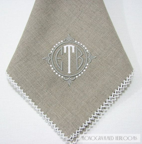 Monogrammed Natural Linen Dinner Napkin with Picot Trim