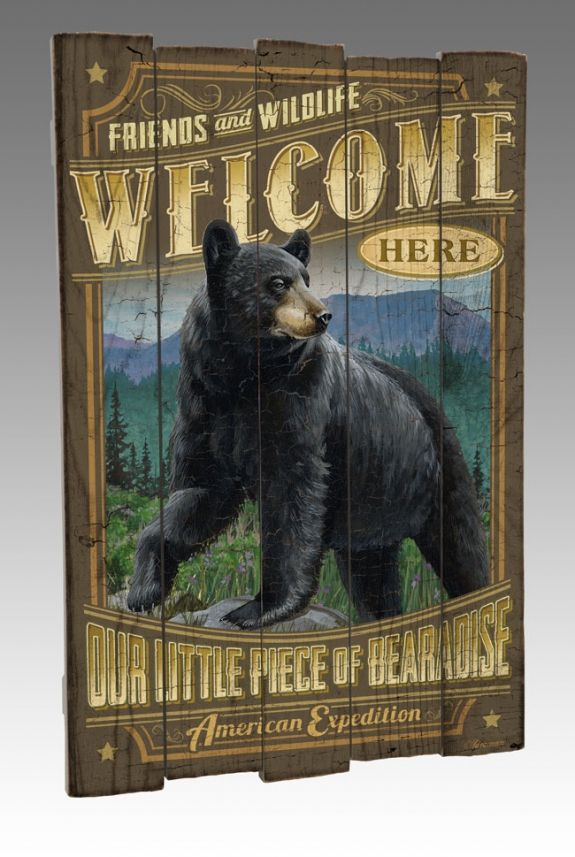 Black Bear Wooden Lodge Log Cabin Sign