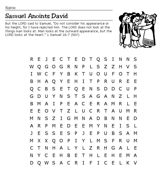 samuel anoints david word search sunday school pinterest search words and david. Black Bedroom Furniture Sets. Home Design Ideas