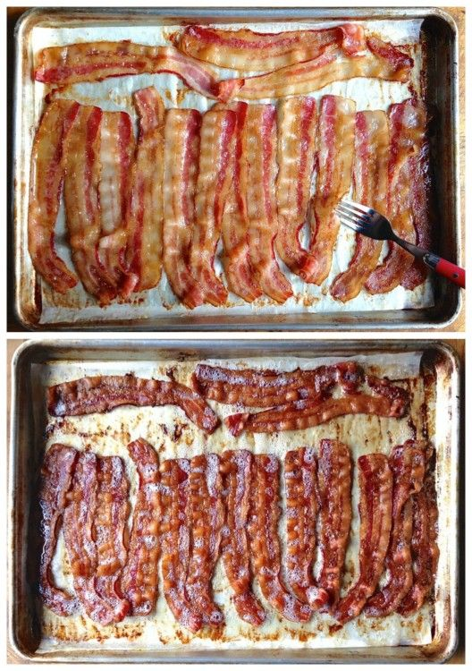 Bakin' the Bacon --  the best way to cook bacon in bulk.  Bake on parchment lined rimmed baking sheet in 350 degree oven for 35-40 minutes depending how dark you like it!!  Cook up to a pound of bacon on half sheet pan.