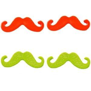 Neon orange Moustache Stud Earrings -   #WinSupergaWithRitaOra