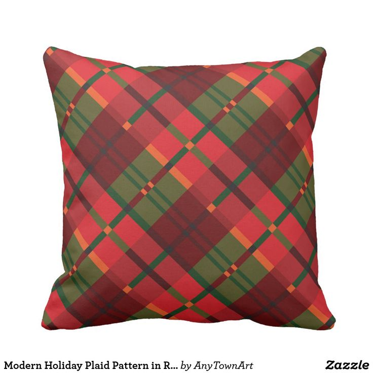 Modern Holiday Plaid Pattern in Red Green Large Throw Pillow