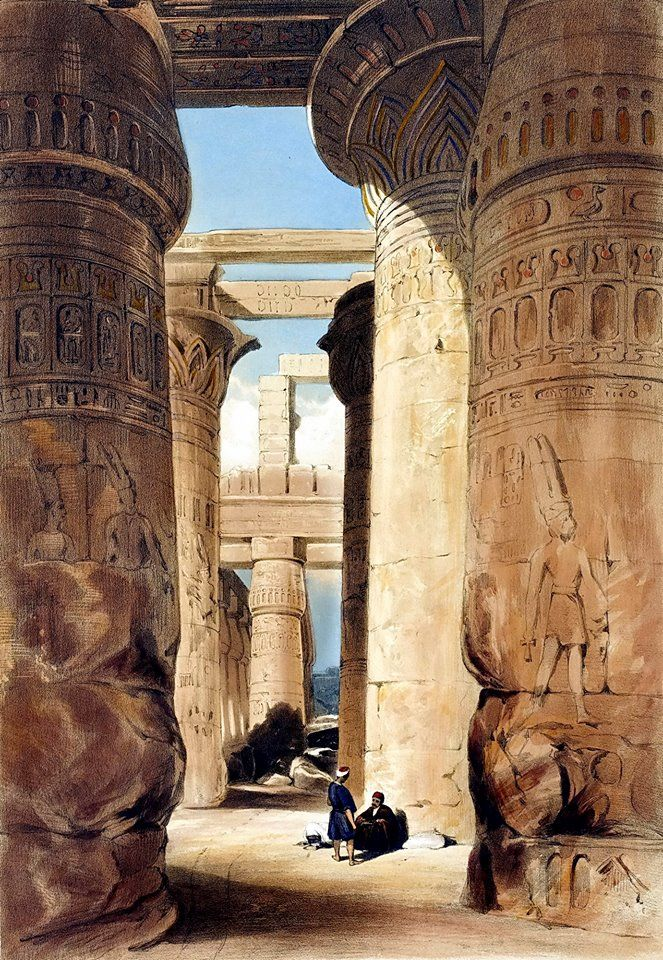 Great Hypostyle Hall , Karnak , Luxor 1845  BY Henry Pilleau (British, 1813-1899) Sketches in Egypt, London, Dickinson & Son, 1845, About Great Hypostyle Hall