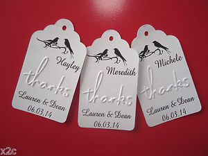 10 White Embossed Personalised Place Cards Tags Wedding Favour Bomboniere | eBay