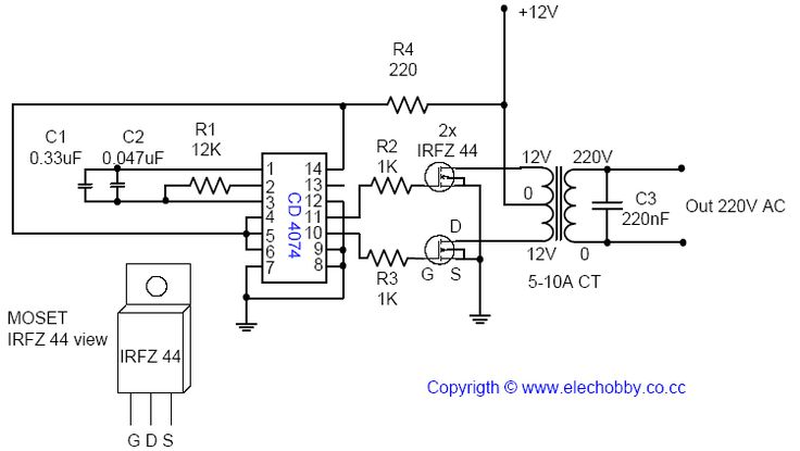 Electronic project circuit : DC / AC Voltage Inverter 12v