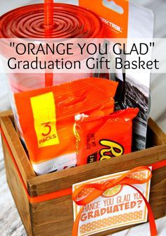 """Orange You Glad"" Graduation Gift Basket #DotComDIY AD"