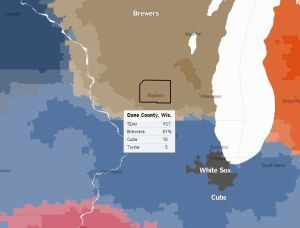 New York Times Maps The Support For Brewers Cubs By Zip Code Ct