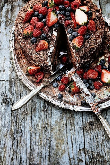 A beautiful mess. Chocolate and strawberry cake