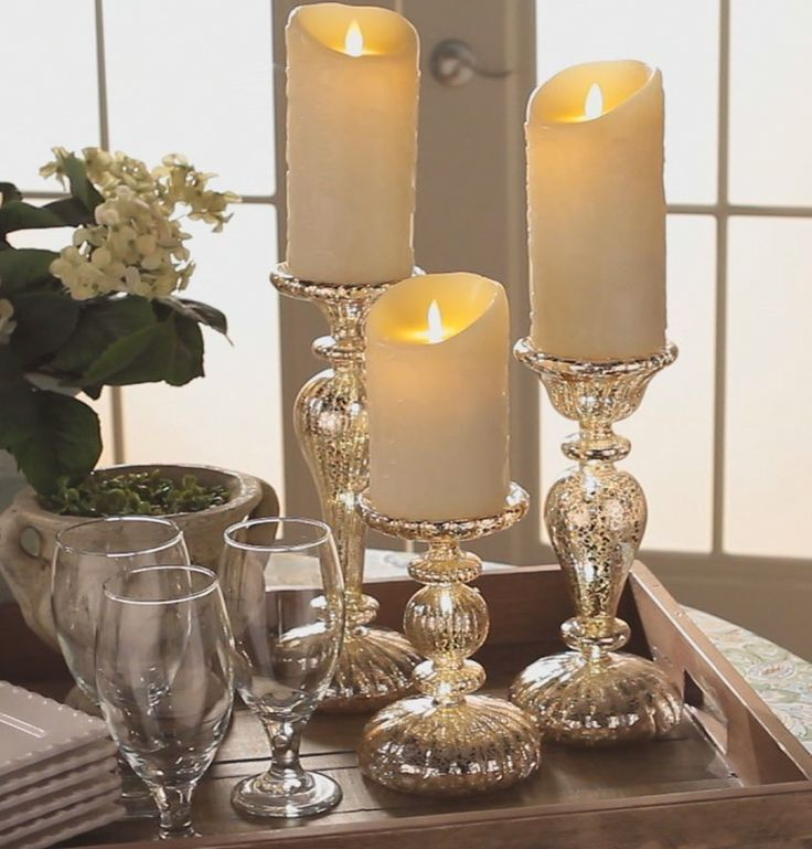 Set of 3 Mercury Glass Pedestals illuminate and run on a timer H205247 http://qvc.co/-Shop-ValerieParrHill