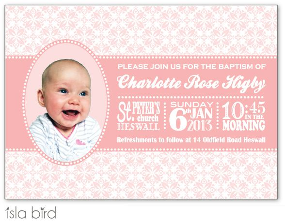 baby announcement or christening invitation in pink (http://www.islabird.com/pretty-in-pink-christening-invitation-or-birth-announcement/)