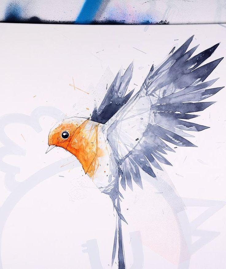 #wip #painting #canvas #mixedmedia #illustration #bird #expo #lyon #monsta #worldofmonsta by worldofmonsta