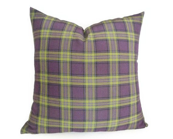 PUNK Plaid Pillow Plum Purple Lime Green by PillowThrowDecor, $38.00